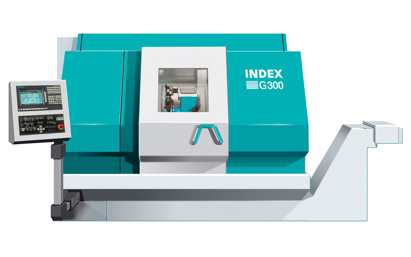 INDEX G300, 7 axis, max. cutting diameter 315mm, main spindle rod passage Ø90mm, tailstock, driven tools