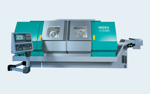 INDEX G300 L, 8 axis, max. cutting diameter 250mm, main spindle rod passage Ø110mm, counter spindle Ø65mm, driven tools