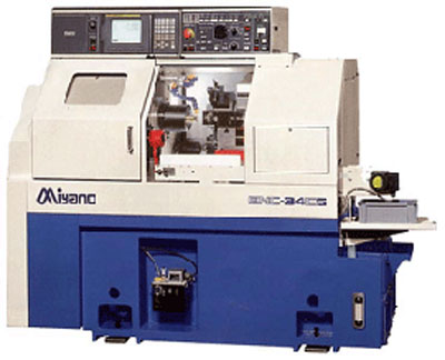 Miyano BNC 42, 3 axis, max. cutting diameter 80mm, main spindle rod passage Ø42mm, counter spindle Ø30mm