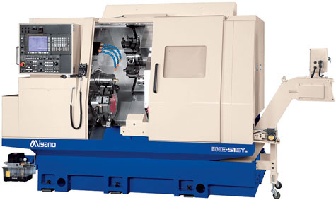 2 x Miyano BNE 51S, 7 axis, max. cutting diameter 80mm, main spindle rod passage Ø48mm, counter spindle Ø42mm, driven tools